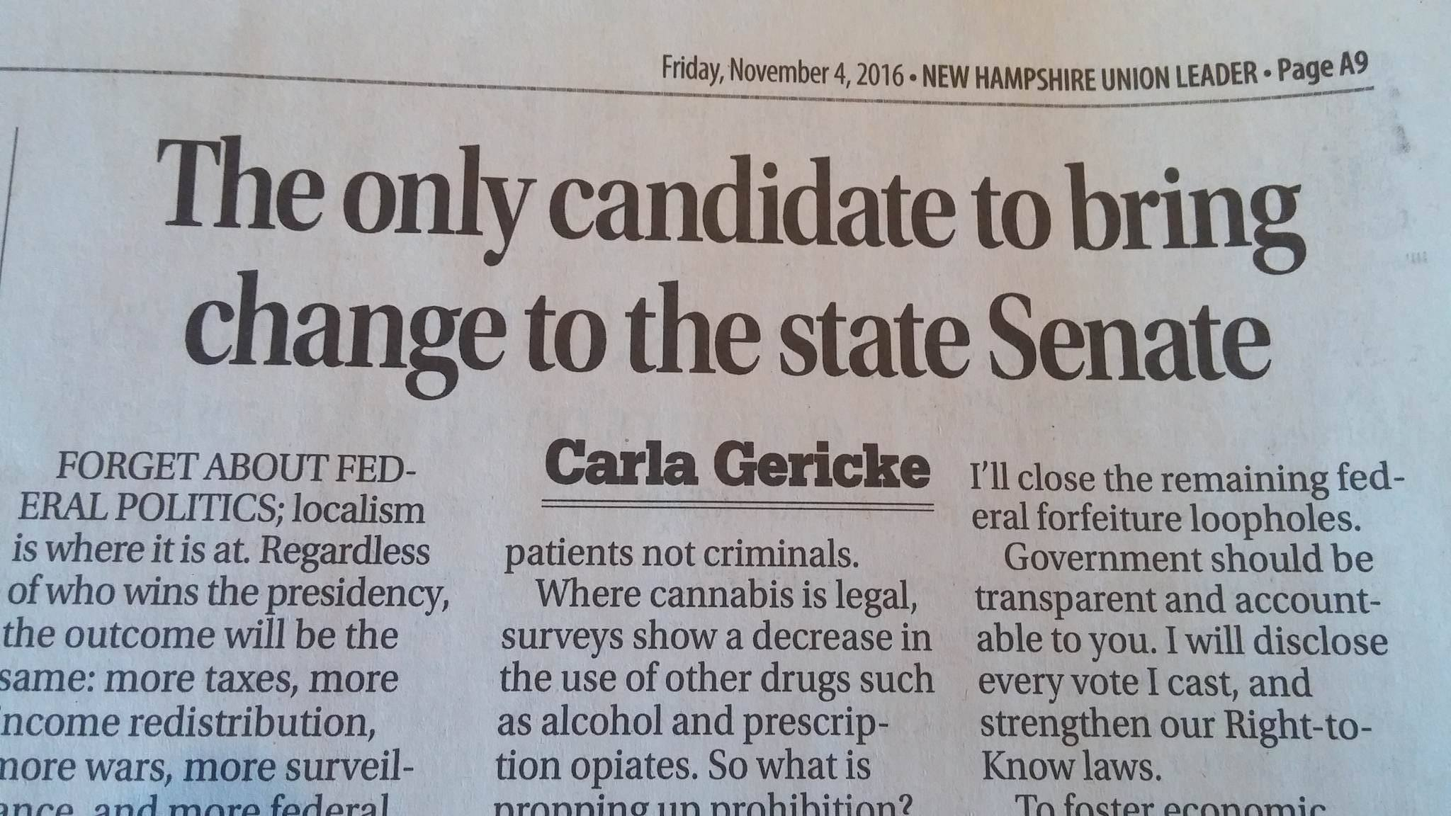Carla Gericke: The only candidate to bring change to the state Senate